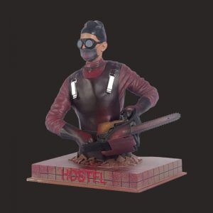 Masked chainsaw male statue